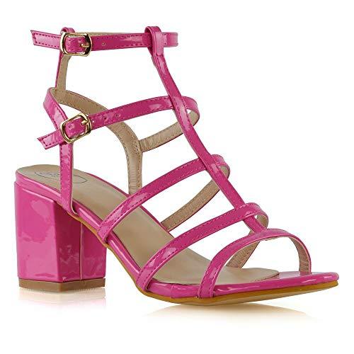 ESSEX GLAM Sandalo Donna Fibbia Cinturino Caviglia Fucsia Finto Patentato Gladiatore Tacco Alto Scarpe EU 39