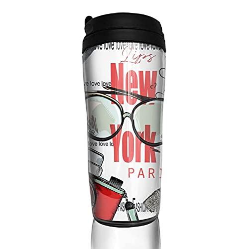 New York London Paris - Taza de café reutilizable con tapa