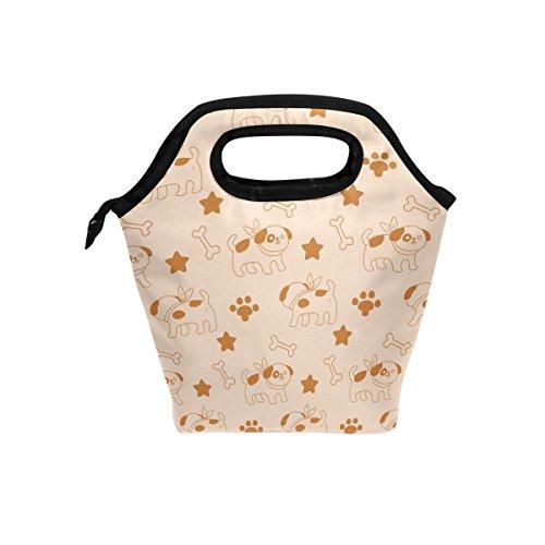Joli motif chiens Bones Sac à déjeuner isotherme Fourre-tout pour femme Lunch Box Cooler avec fermeture à glissière pour adultes/enfants filles, garçons, hommes