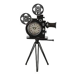 Hollywood Projector Clock, Retro Movie House Sculpture, Roman Numerals, Quartz Movement, Battery Powered, (1 AA) 11.5 L x 8 W x 20.5 H