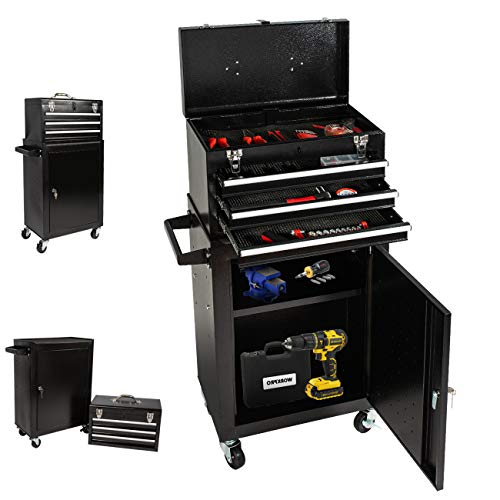 3-Drawer Rolling Tool Chest Lockable,Tool Box with Wheels and Drawer,Removable Tool Cabinet for Mechanics Garage and Workshop(Black)