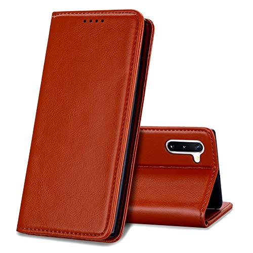 EATCYE Funda para Samsung Galaxy Note 10, [Cuero Genuino] Vintage Carcasa Libro...