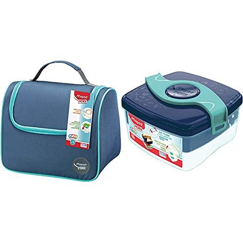Maped Picnik Origins - Lunch bag Sac à Déjeuner Isotherme pour Enfants - Bleu & Picnik Origins - Boîte à Déjeuner Repas Enfants Ouverture Facile - 2 Compartiments dont 1 Amovible - Bleu Vert - 1,4L