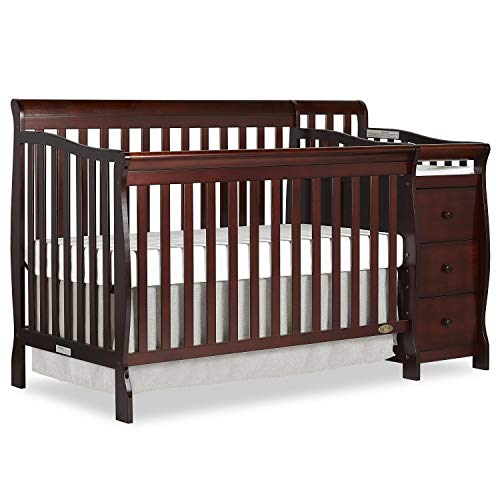 Dream On Me 5 in 1 Brody Convertible Crib with Changer, Espresso