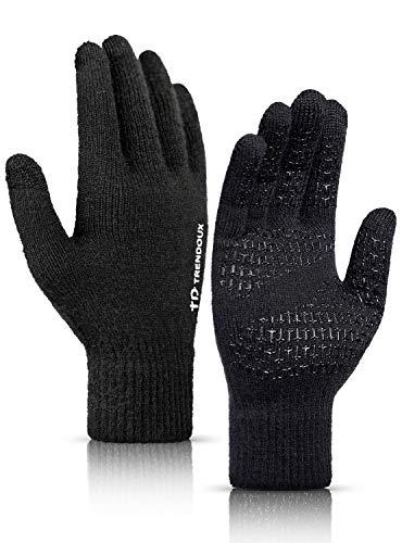 TRENDOUX Handschuhe Damen, Laufhandschuhe Herren Touchscreen - Rutschfester Griff - Warm Gefüttert - Elastische Manschette - Stricken Material - Fingerhandschuhe Für Handy Autofahren - Schwarz M
