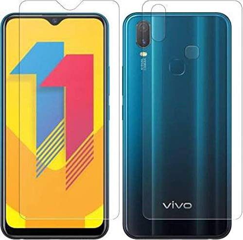 TevarSmart (Vivo Y11 Tempered Glass Front and Back) Full Glue Screen Protector Tempered Glass with Unbreakable Flexible Protector Film Back Guard for Vivo Y11 / vivo 1906