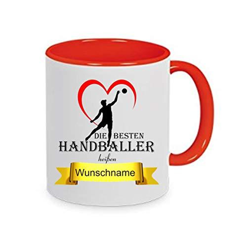 Crealuxe Tasse m. Wunschname Die besten Handballer heißen. Wunschname - Kaffeetasse mit Motiv, Bedruckte Tasse mit Sprüchen oder Bildern