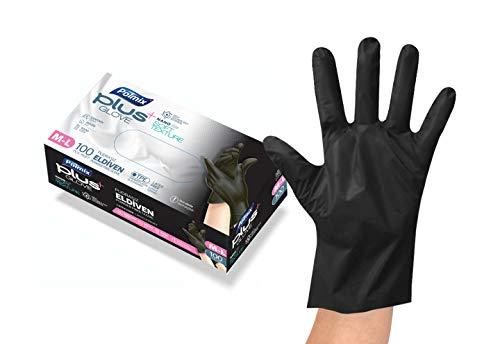 Polmix TPE Einweghandschuhe, 100 Stück, Größe S, schwarz, lebensmittelecht, puderfrei, ohne Latex, Alternative zu Vinyl und Nitril, Lebensmittelkontakt, Gastronomie, Einmalhandschuhe