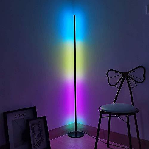WRQ Moderna LED Lámpara Pie RGB Regulable Altura 140Cm 300 + Multicolor Lámpara Estado Ánimo con Control Remoto Marco Aluminio Lámpara Piso