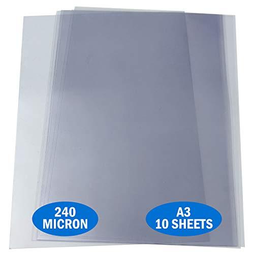Essential Arts A3 Acetat 240 Mikron Packung mit 10 Blatt Extra dicker PVC-Bindungseinband, kann zum Ätzen, Basteln, Schablonen und Geschenke verwendet werden (297 x 420 mm)