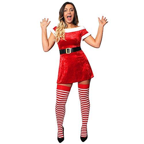 ILOVEFANCYDRESS I Love travestimento ilfd4632s Off The Shoulder Velour Miss Santa Skater Dress con finta pelliccia e cintura (UK 8–10), Small