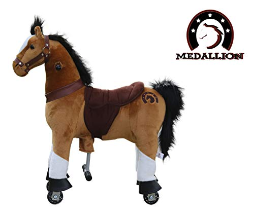 Medallion Genuine My Pony Ride On Real Walking Horse for Children 3 to 6 Years Old or Up to 65 Pounds (Color Small Brown Horse) for Boys and Girls
