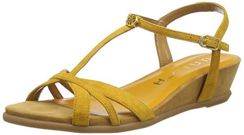Unisa Damen Binar_Ks T-Spangen Sandalen, Gelb (Mustard Mustard), 39 EU