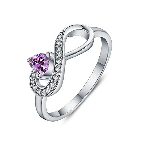JO WISDOM Women Ring, 925 Sterling Silver Infinity Birthstone Ring with Heart Cut AAA Cubic Zirconia (February,Amethyst Color, V)