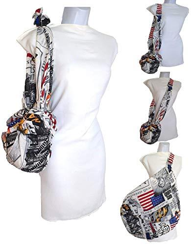 Vintage damentaschen aus Stoff. der Schulter NEW YORK Vielzweck, der an Größe gewinnt. Für den Kauf des Strandes. Umweltfreundlich spart Plastiktüten Furoshiki