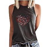 WANGTIANXUE Camiseta de tirantes para mujer con estampado en forma de corazón, sin mangas, con estampado de mariposas, cuello redondo y hombros descubiertos gris S