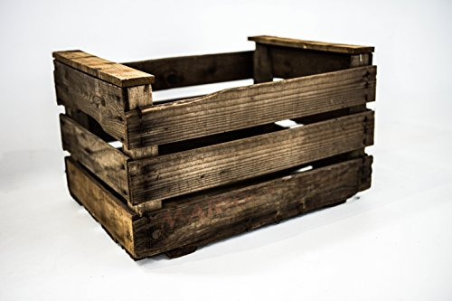 DECORANDO CON SAM Caja Antigua Envejecida Vintage, Caja Antigua Tipo Fruta, Envejecido, Marrón, 50x36x32cm, 1 Unidad
