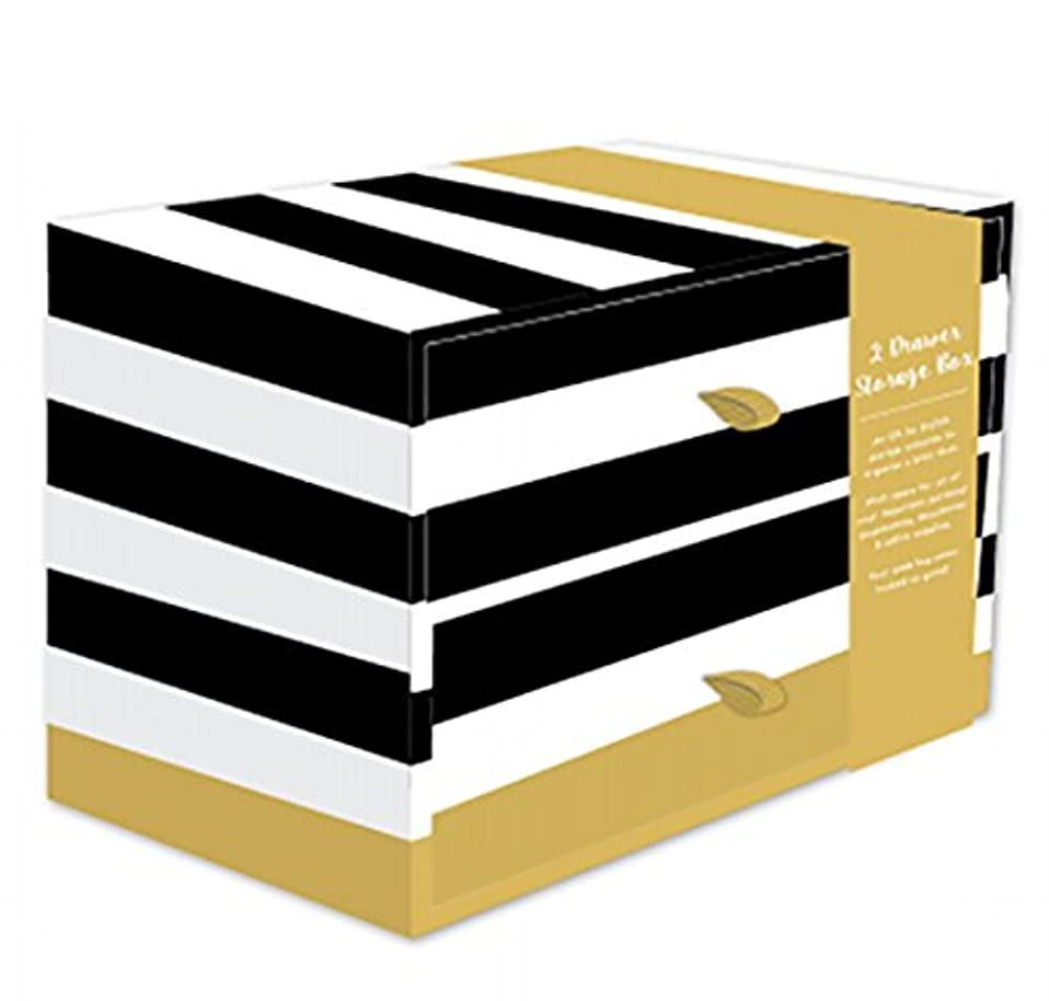 Robert Frederick 2 Drawer Storage Box-Bold Stripe & Geo Spot, Paper, Assorted, 36 x 17 x 28 cm