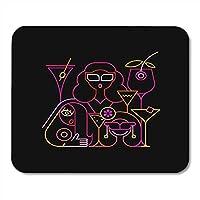 マウスパッドの女性カクテルバーで飲む3人の若い美しい女性黒のパーティーのネオン色マティーニマウスマットマウスパッドノートブックデスクトップコンピューターに適しています