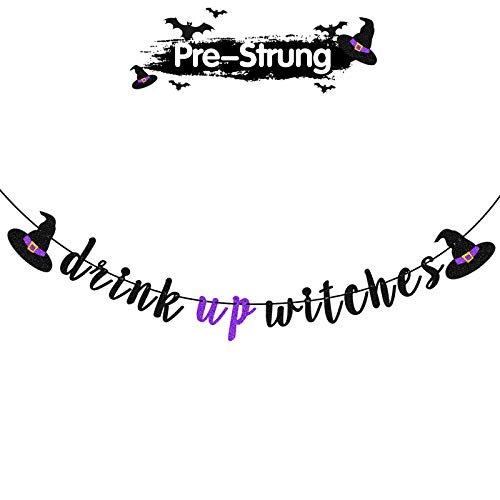 LINGTEER Drink up Witches Black & Purple Glitter Bunting Banner Witches Hat | Halloween Garland Banner Halloween Party Decorations.