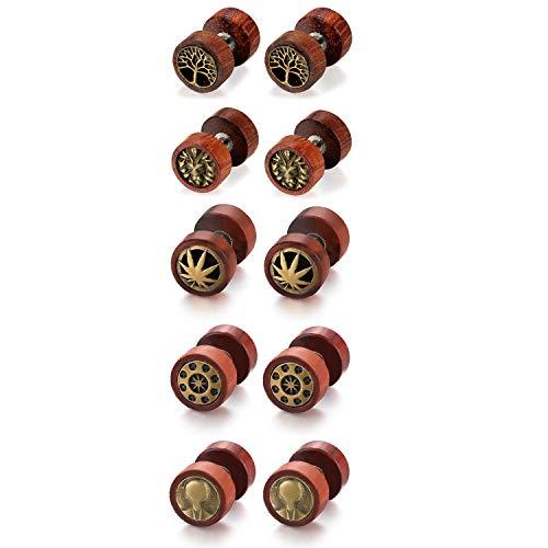 Flongo Houten oorstekers voor heren, met knop, voor dames en heren, roestvrij staal, roestvrij staal, pentagram, hout, bruin, kleur, fake plug, tunnel, oorstekers, piercing, oorsieraad, 5 paar