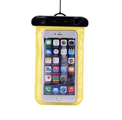 Demarkt - Funda impermeable para móvil (PVC, 17,5 x 10,5 cm), color amarillo