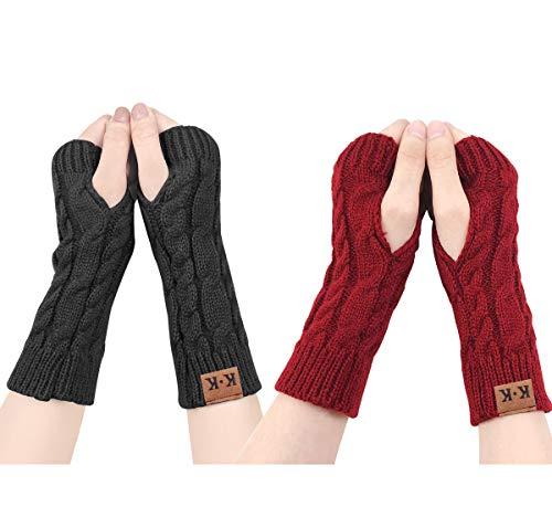 ECOMBOS Damen Fingerlose Handschuhe - Winter Armstulpen Handschuhe Damen Pulswärmer Strick Kurzer Gestrickte Halb Fingerlose Fäustlinge (Schwarz+rot)