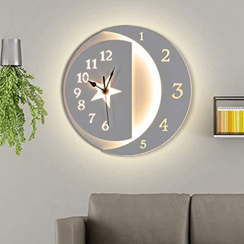 Wandlamp 22W LED wandklok modern interieur design ideeën voor woonkamer, slaapkamer, kinderkamer, afscheidheid, keuken wandlamp warmwit op ster
