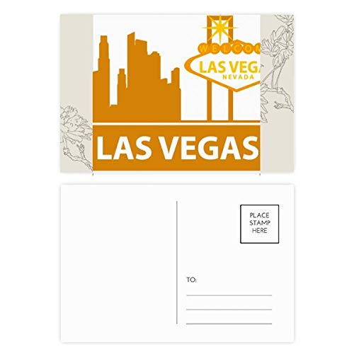 DIYthinker Willkommen nach Las Vegas Nevada Amerika Blume Postkartenset dankt Karte Mailing Side 20pcs 5.7 Zoll x 3.8 Zoll Mehrfarbig