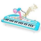 CestMall Piano electrónico infantil, 37 teclas, teclado para niños, piano con micrófono, minipiano electrónico, juguete educativo para niños a partir de 3 años