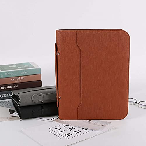 Cartellina portadocumenti A4 per conferenze, raccoglitore per riunioni, in pelle, con cerniera, con scomparto per carte di credito, organizer da lavoro, colore: marrone