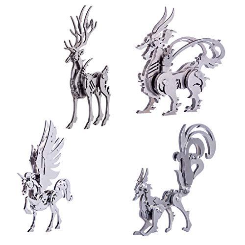 CT-Tribe 3D Metall Puzzle - Vierteiliger Metallmodellsatz, Edelstahl Modellierwerkzeug Geschenkideen Puzzle Geeignet für über 8 Jahre Alt