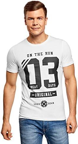 oodji Ultra Hombre Camiseta de Algodón con Inscripciones