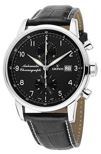 KRONOS - Pilot Automatic Chronograph Black 873N.55 - Reloj de Caballero automático, Correa de Piel Negra, Color Esfera: Negra
