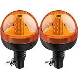 AUTOUTLET 2X Rotativo LED Flexible Luz de Advertencia Luz Ámbar Giratoria de 40 LED Luz Intermitente 12V 24V con 3 Modos de Iluminación, Impermeable a Prueba de Polvo, para Camión, Tractor, Automóvil