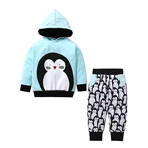 Kinder Jungen Mädchen Winter Kapuzenpullover Langarm Pinguin Druck Sweatshirt T-Shirt Top + Baumwolle Lange Hosen Yanhoo Unisex Baby 2 Stück Bekleidungsset