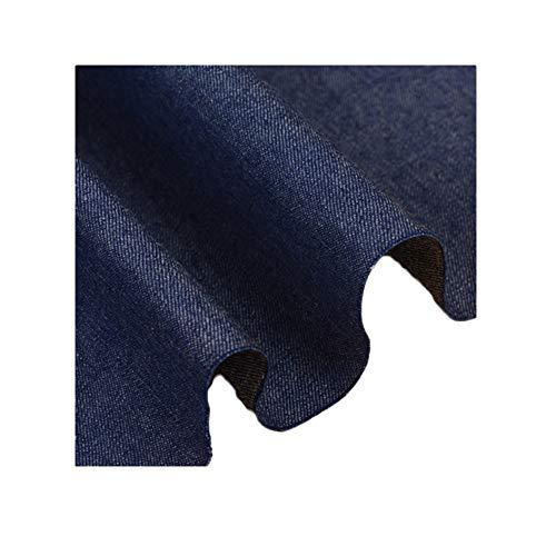 Gewassen effen kleur denim stof katoen zomer dun zacht overhemd rok bedrukt gedrapeerde kleding DIY stof (Color : Dark blue)