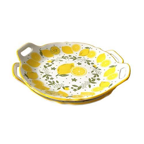 Plato de cerámica para frutas con forma de limón, para aperitivos, ensaladas, postres, platos calientes, platos esmaltados, postres, aperitivos, restaurantes y cenas.