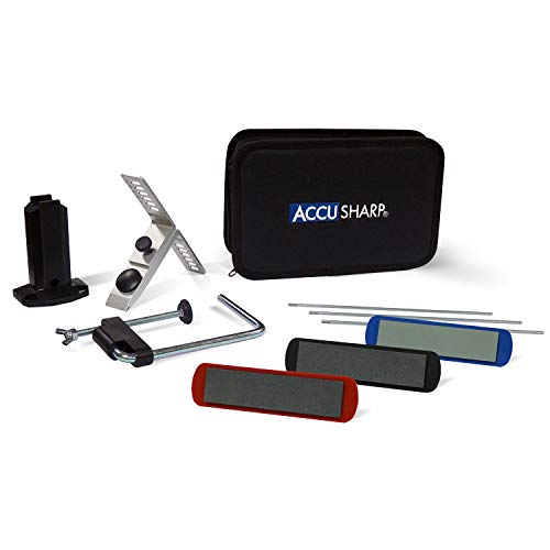 ACCUSHARP ACCU-060C Precision-Juego de afilador de Cuchillos de 3 Piedras, Unisex, Negro, 23 x 7 x 15 cm