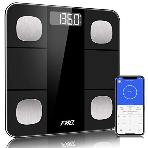 Bluetooth Body Fat Scale, High Precision Sensor Scales Digital Weight and Body Fat, Smart Bathroom Scales with 8MM Tempered Glass Platform, Large Digital Backlit LCD and Smartphone App, Black