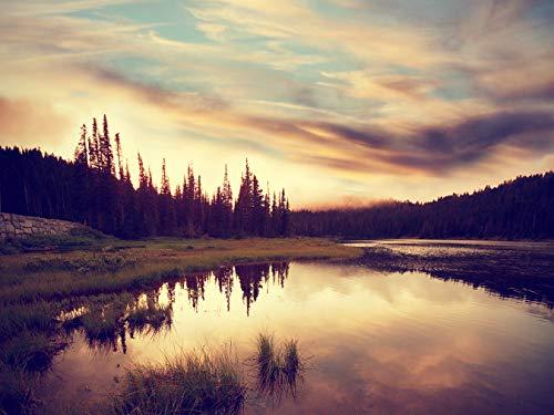 Bilderdepot24 Fototapete selbstklebend Sonnenuntergang in Norwegen - Vintage 300x230 cm - Wandbild Wohnzimmer - Wildnis und Abendteuer