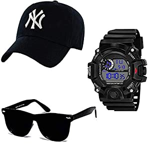 SELLORIA Black Analogue Stainless Steel Watch with Black Sunglass with basboll Cap Black