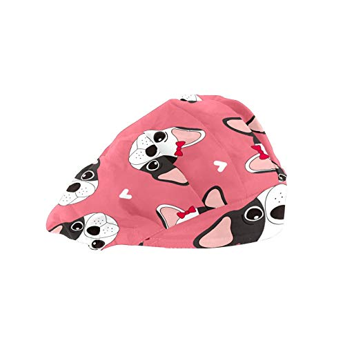 Womens Working Cap with Cotton Sweatband Adjustable Elastic Work Cap Tie Back Work Hats for Women Men One Size Bouffant Hat Head Hair Covers French Bulldog with Bowknot