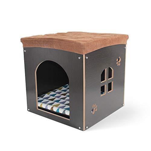 Hundehütte aus Holz mit Matte – Abnehmbare Katzenhöhle im Form von Hocker, Faltbares Haustierhaus Innen für Katzen, Hund und Kleintiere, hundehaus für drinnen kleine mittelgroße hunde, Schwarz, S