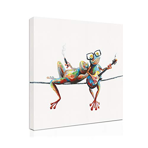 """B BLINGBLING Canvas Frog Wall Art Decor: 24""""x24"""" Side by Side Frogs with Glasses Art Bedroom Wall Art Laundry Room Decor Kids' Room Decor Inspirational Wall Art with Frame Easy Hanging with 1 Panel"""