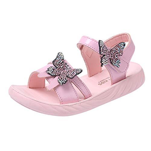 YWLINK Sandalias De NiñA Verano Antideslizante Zapatos De Princesa De Diamantes De ImitacióN Arco Moda Casual Zapatillas De Playa Confort De Fondo Suave Zapatos Planos Vestido De Fiesta Regalo