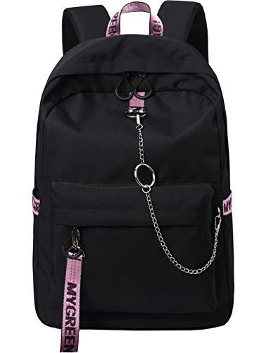 Mygreen Backpack Rucksack Schulrucksack rucksäcke mit Laptopfach für Camping Outdoor Sport Schwarz&Rosa
