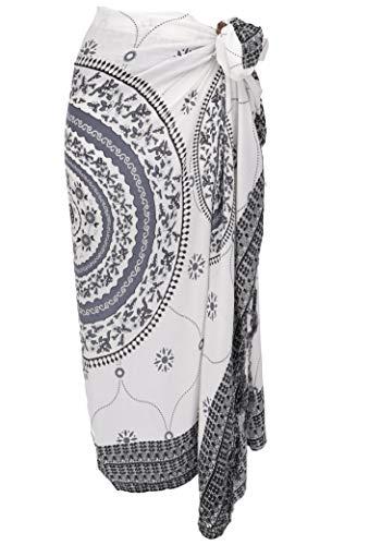 Guru-Shop Bali Sarong, Wandbehang, Wickelrock, Sarongkleid Mandala, Herren/Damen, Weiß/grau, Synthetisch, Size:One Size, 160x120 cm, Sarongs, Strandtücher Alternative Bekleidung