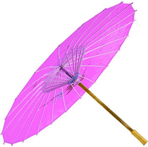 Chinesischer Schirm   Regen- & Sonnenschirm   authentische Bemalung in Handarbeit   Bambus Holz und traditionelle Bespannung: Farbe: rosa