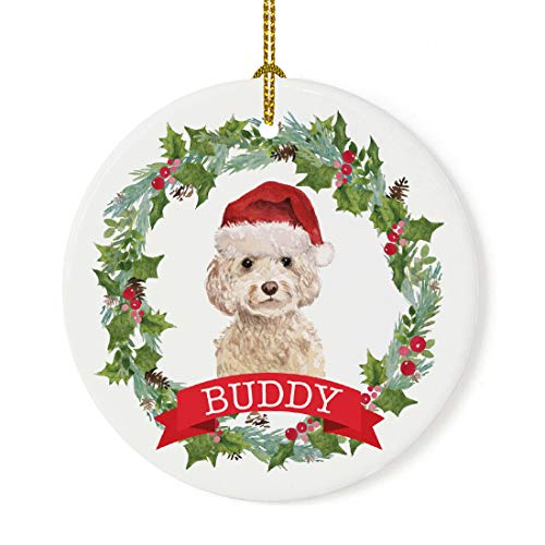 Andaz Press Personalized Round Porcelain Ceramic Christmas Tree Ornament, Champagne Cockapoo, Holly Wreath Santa Hat Dog, Custom Name, 1-Pack, for Dog Lovers, Pet Memorial Christmas Ideas
